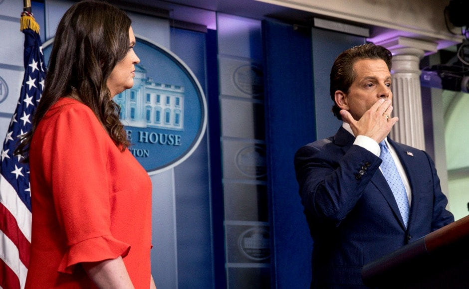 "Scaramucci named Sarah Huckabee Sanders as Spicer's permanent replacement for press secretary. Both Huckabee Sanders and Scaramucci had praise for ""team player"" Sean Spicer. AP"