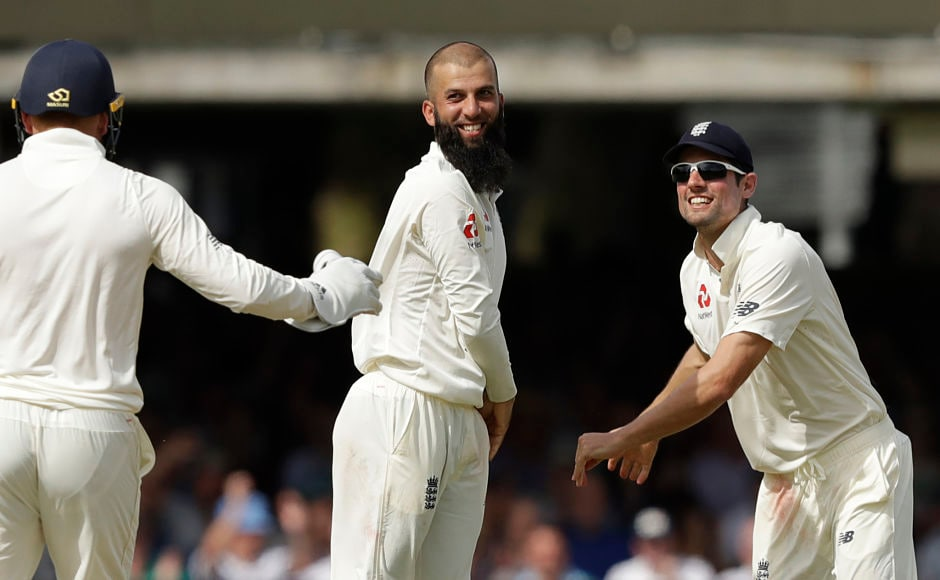 England's Moeen Ali struck twice, removing both Hashim Amla and Dean Elgar to leave South Africa at 98 for 3. AP