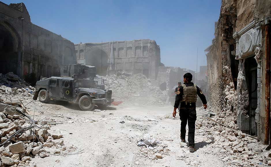 """IS claimed on its <em>Amaq</em> propaganda agency that the site was hit in a US air strike, but the US-led coalition said it was the jihadists who had """"destroyed one of Mosul and Iraq's great treasures"""". The day following the victory, a senior Iraqi commander said victory in Mosul would be declared within the """"next few days"""". Reuters"""