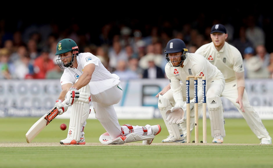 South Africa's Theunis de Bruyn and Temba Bavuma resurrected the innings with a 99-run partnership, taking the score over 200. AP