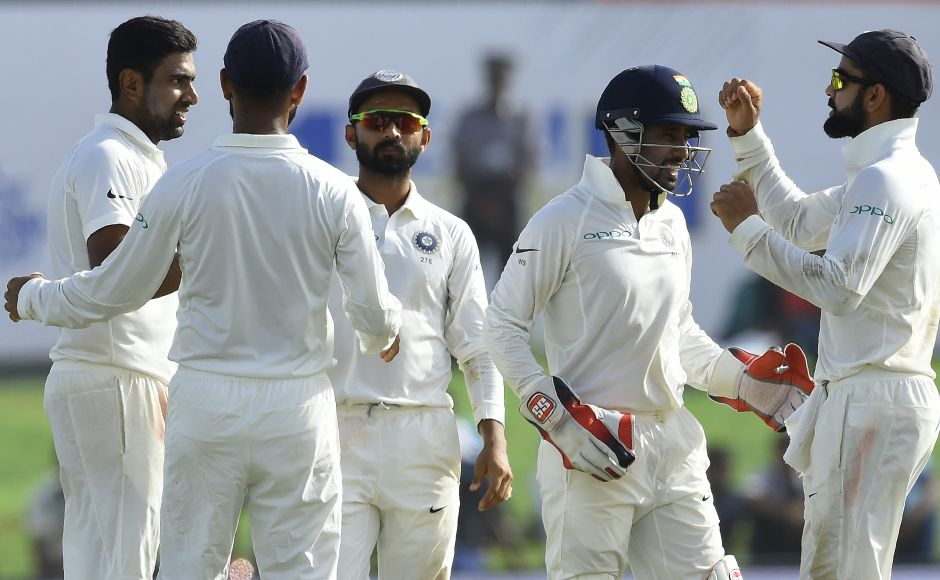 Ravichandran Ashwin dismissed Dimuth Karunaratne, who fell 3 runs short of a century. AFP