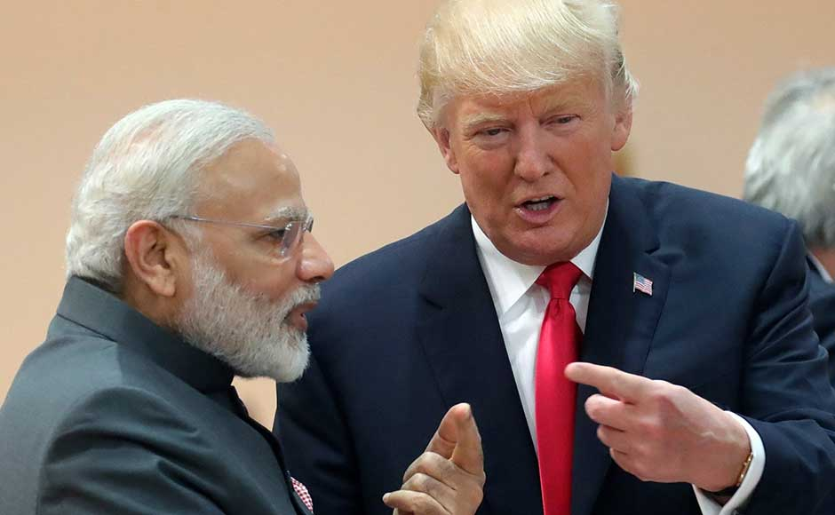 "A highlight for India was when Donald Trump walked up to Indian prime minister Narendra Modi for ""an impromptu interaction"". AP"