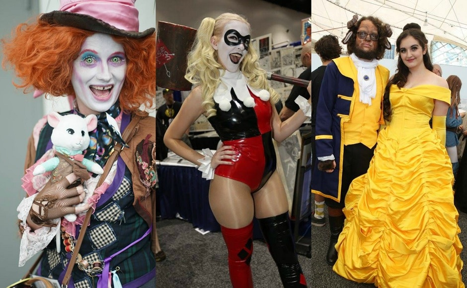 Cosplayers dressed as The Mad Hatter, Harley Quinn and Beauty and The Beast. Image from Facebook