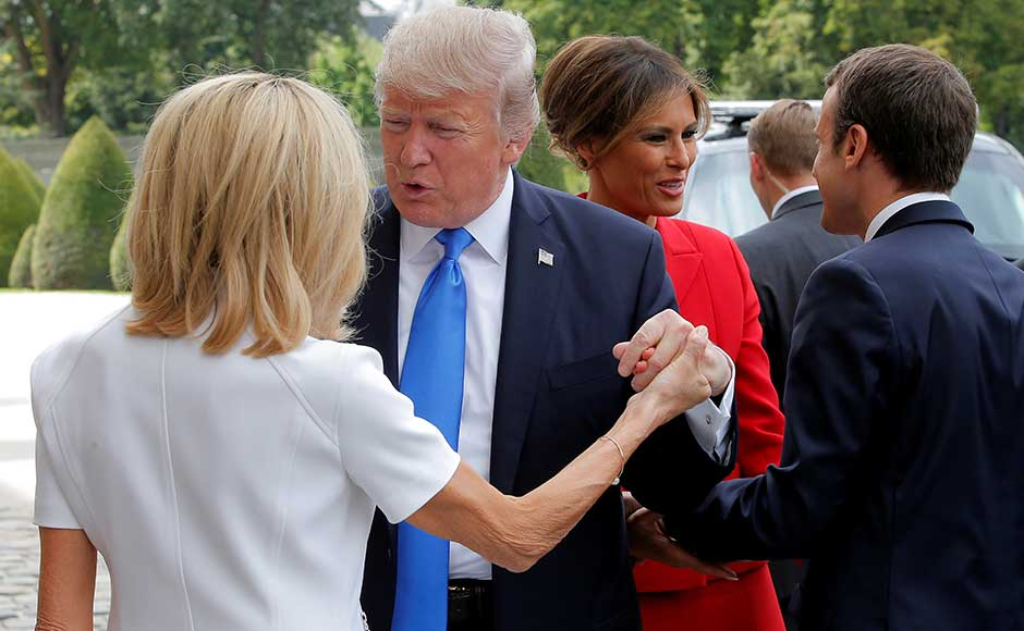 Later on Thursday, the leaders and their wives Brigitte and Melania shared a Michelin-starred dinner at the Eiffel Tower, part of Macron's charm offensive. Trump complimented 64-year-old Brigitte, Macron's former schoolteacher, during their visit to the museum.