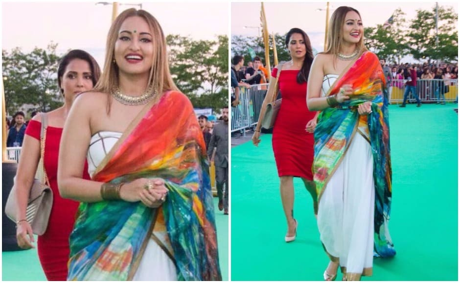 Sonakshi Sinha makes her way into the MetLife Stadium, after meeting with fans on the green carpet. Images via Twitter