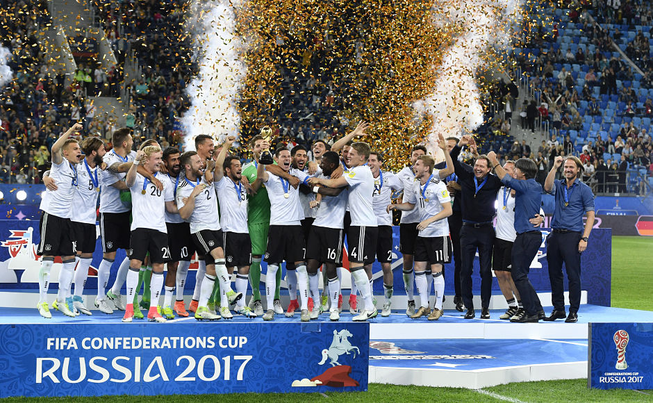Germany won its maiden Confederations Cup and has now set sights on the 2018 FIFA World Cup to become the first team to hold both at the same time. AP