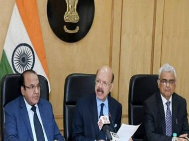 Outgoing chief election commissioner Nasim Zaidi , along with election commissioners Achal Kumar Joti and OP Rawat during a press conference. PTI