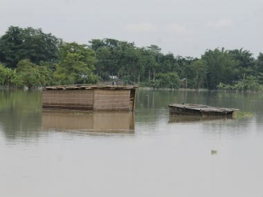 A jute made house is under water in Majidbhita char area of Barpeta district. Image courtesy Aftaf Ali