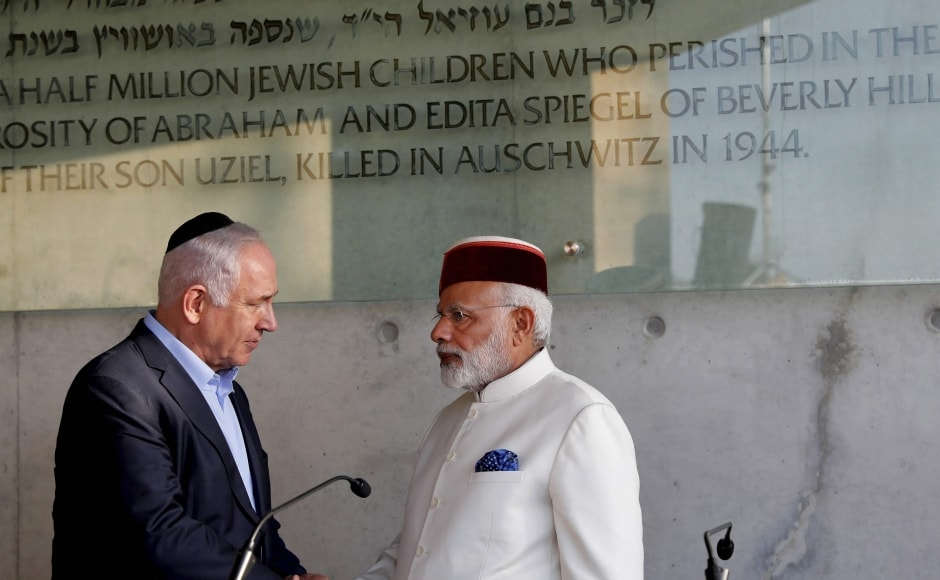 Soon after he landed, Modi mentioned Yonatan Netanyahu in his inaugural speech, elder brother of Benjamin Netanyahu. Yonatan was killed exactly 41 years ago during Operation Entebbe at the Entebbe airport in Uganda. AP