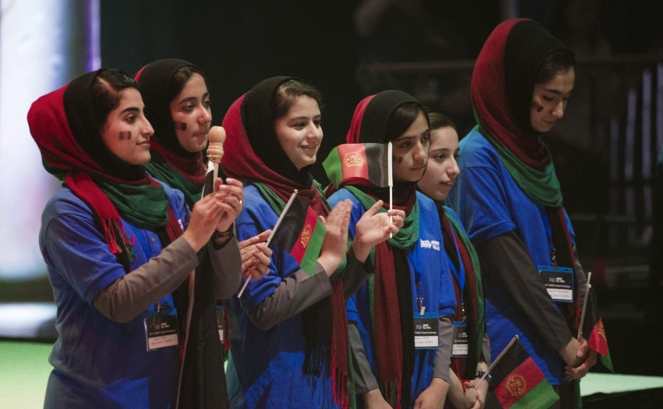 Twice rejected for US visas, an all-girls robotics team from Afghanistan arrived in Washington early Saturday after a last-minute intervention by president Donald Trump. The six-girl team and their chaperone completed their journey just after midnight from their hometown of Herat, Afghanistan, to enter their ball-sorting robot in the three-day high school competition starting Sunday in the US capital. AP