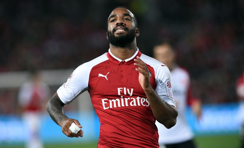 Alexandre Lacazette scored withing 15 minutes of his Arsenal debut against Sydney. AFP