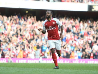 Alexandre Lacazette scored his first goal for Arsenal at the Emirates Stadium. Twitter: @Arsenal