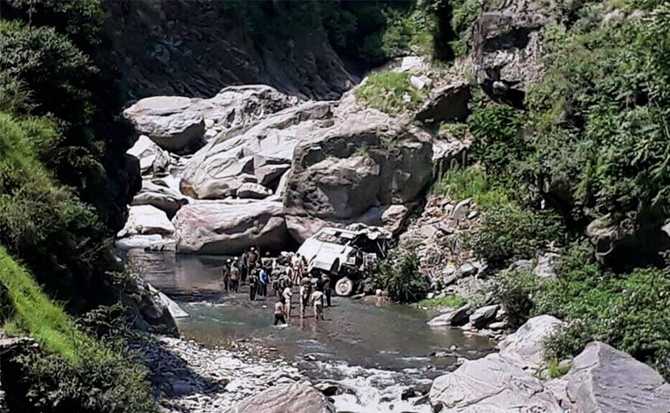 The bus carrying the pilgrims skidded off the road, turned turtle and rolled down into the nullah at Nachlana belt of Ramban late on Sunday afternoon. PTI