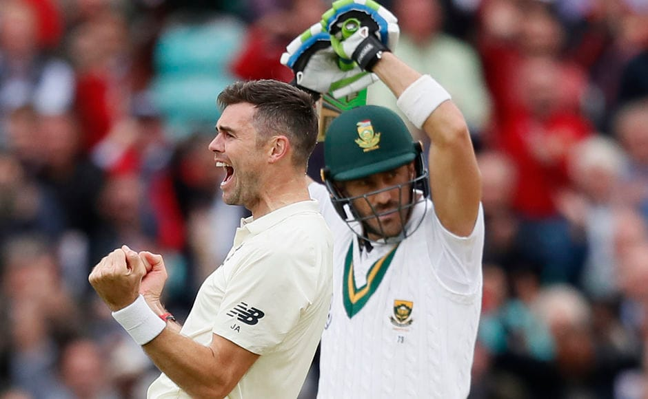 South Africa lost half their side for 47. James Anderson trapped South Africa captain Faf du Plessis for 1. AP