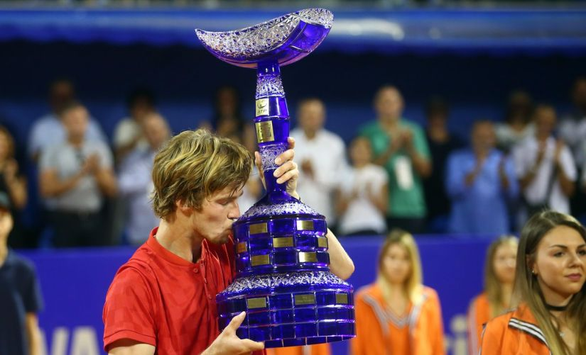 Andrey Rublev is the seventh lucky loser to win an ATP World Tour title and the first to do so since Rajeev Ram in Newport in 2009. Image courtesy: Twitter/@CroatiaOpenUmag