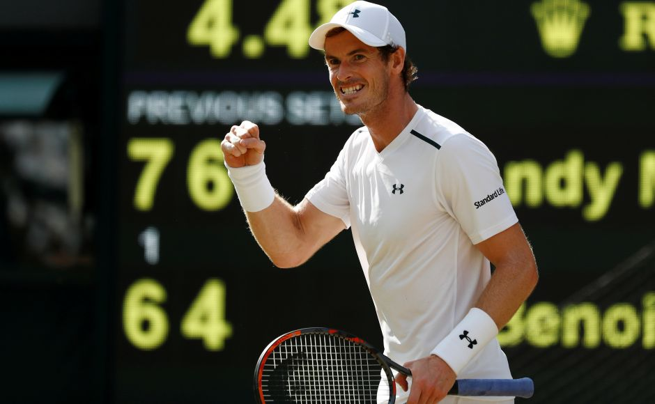 Andy Murray progressed to the Wimbledon quarterfinals for the 10th straight year after beating Benoit Paire on Centre Court. Reuters