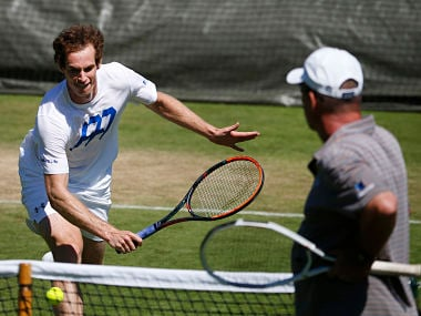 Britain's Andy Murray with his his coach Ivan Lendl during a practice session. AP