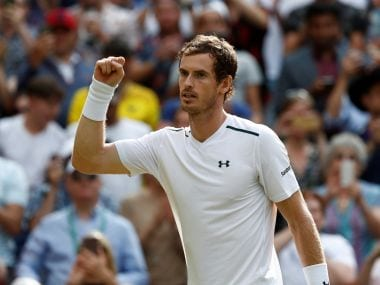 Andy Murray celebrates after winning the fourth round match against Benoit Paire. Reuters