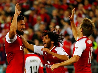 Arsenal's Olivier Giroud celebrates after scoring his team's first goal in match against Western Sydney Wanderers. Reuters