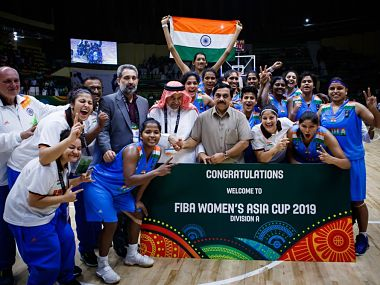 Indian women's basketball team pose for a photo. Image Courtesy: @BFI_basketball/Twitter