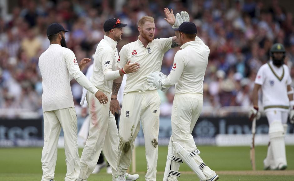 Ben Stokes gave England a breakthrough in the first session dismissing Dean Elgar. AP