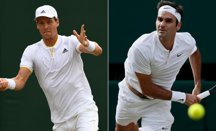 Tomas Berdych, left, will aim to defeat Roger Federer for a second time at Wimbledon when they face off in the semi-final. AP