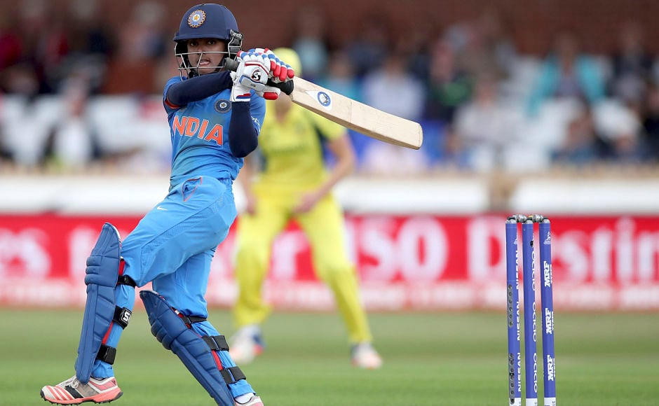 India's Harmanpreet Kaur then took centre stage to display her fine stroke-making skills and power-hitting to propel India's total. AP