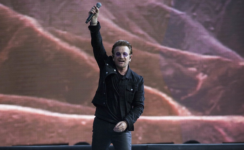 Bono of the band U2 performs on stage. Photo by AP