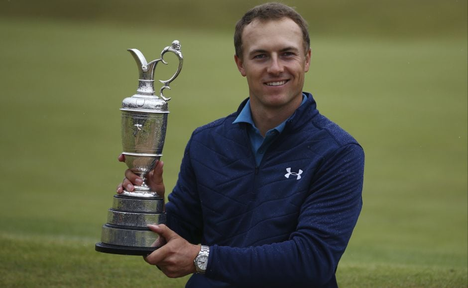Jordan Spieth of the United States holds the trophy after winning the British Open Golf Championships at Royal Birkdale. This is the 23-year-old's third major title. AP