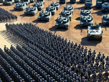 PLA, the world's largest army marches in China on Sunday. AP