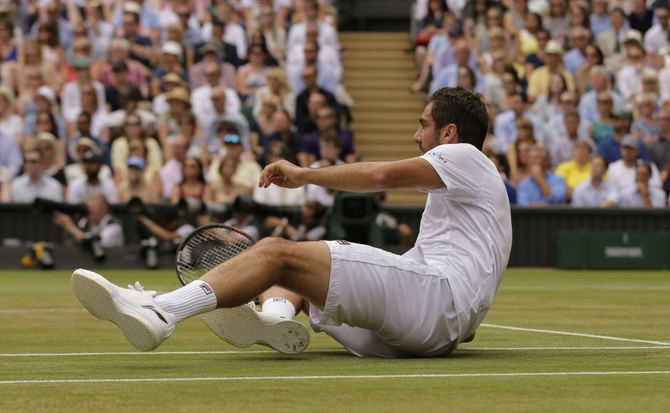 Cilic cracked after dropping serve at 2-2 when his backhand went AWOL after a tumble earlier in the game. AP
