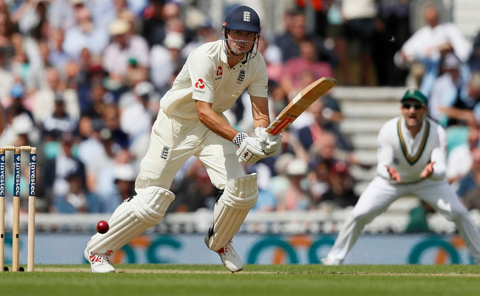 England's Alastair Cook was resolute as wickets tumbled at the other end and remained unbeaten on 82. AP