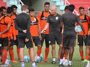 Coach Stephen Constantine with the U-23 team in a training session. Twitter/@indianfootball