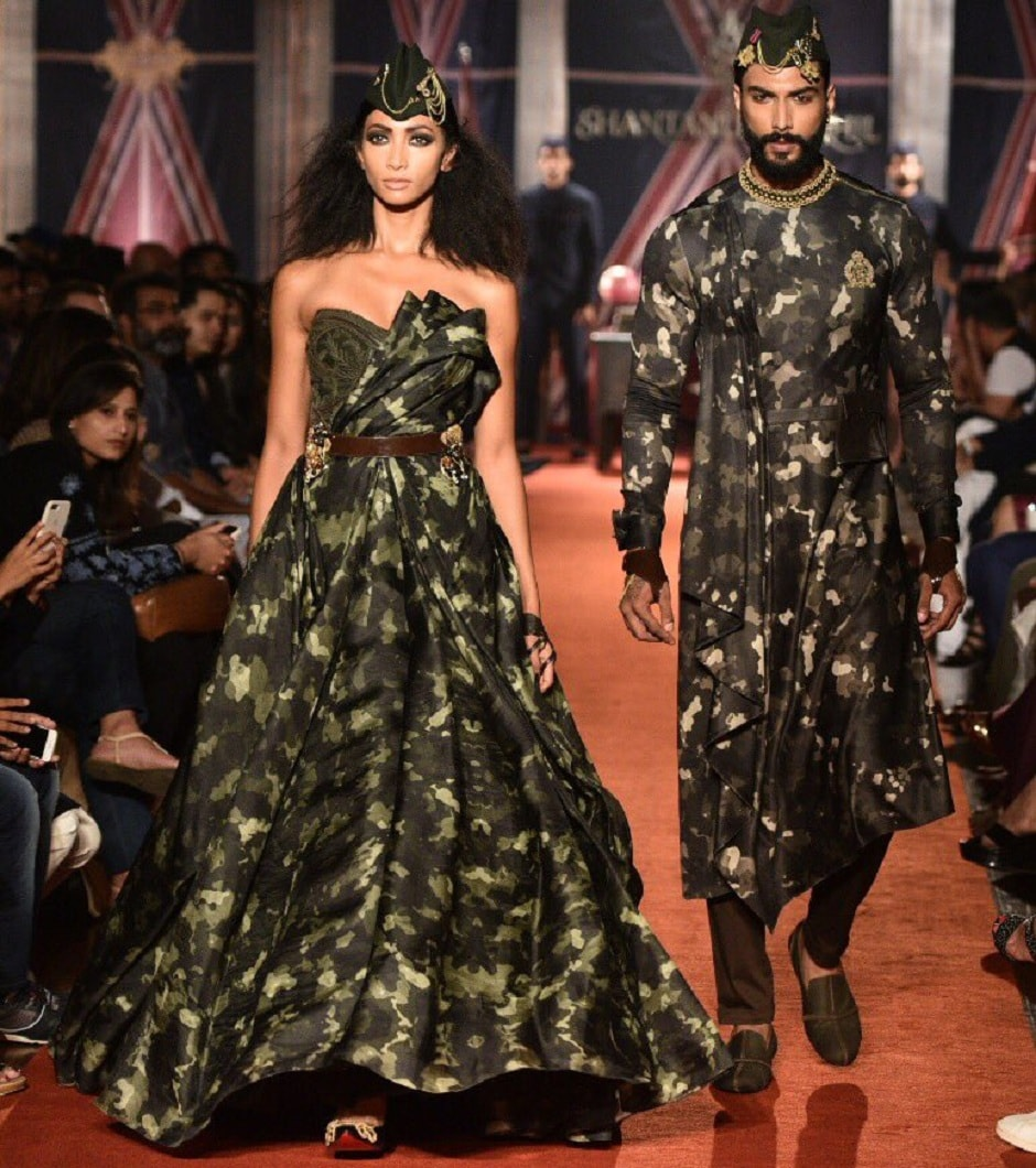 The clothes are inspired by the military. Therefore, there is a lot of green and blue. Image from Twitter/shantanunikhil.