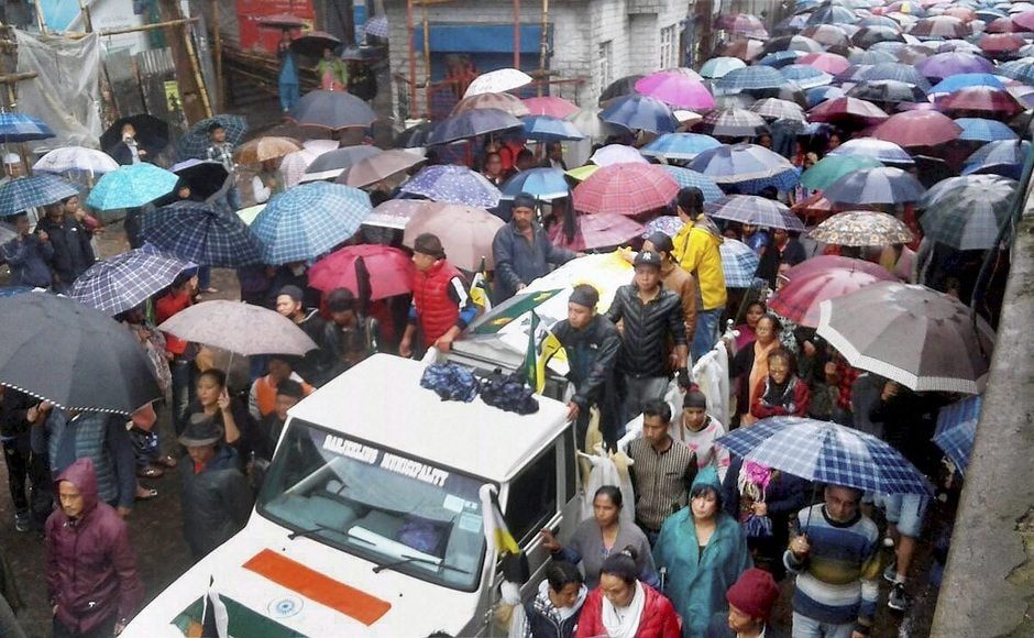 Meanwhile, in Darjeeling, people took part in the funeral procession of two persons, who the pro-Gorkhaland protesters claimed had died in Saturday's police firing. PTI