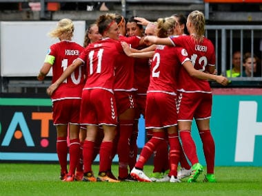 Denmark women's team celebrate their win over Germany. AFP