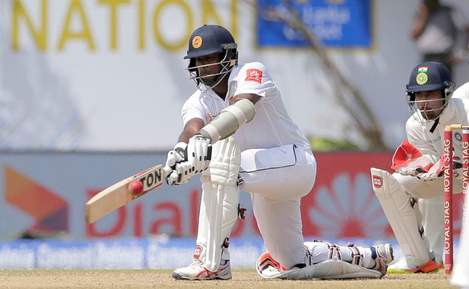 Sri Lanka's Dilruwan Perera fought a lone battle and remained unbeaten on 92 in the second innings. AP