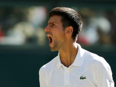 Tennis - Wimbledon - London, Britain - July 8, 2017   Serbia's Novak Djokovic celebrates during his third round match against Latvia's Ernests Gulbis    REUTERS/Andrew Couldridge - RTX3ANCK