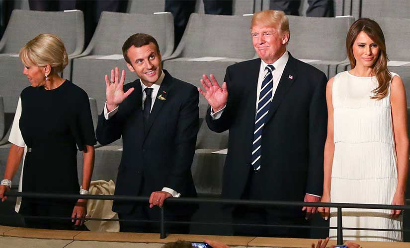 US president Donald Trump, second right, and his wife Melania, right, as well as French president Emmanuel Macron, second left, and his wife Brigitte arrive at the Elbphilharmonie concert hall on the occasion of the G20 summit in Hamburg, Germany. AP