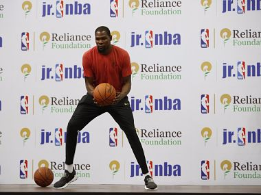Kevin Durant is in India to promote basketball. Image Courtesy: NBA India/Twitter