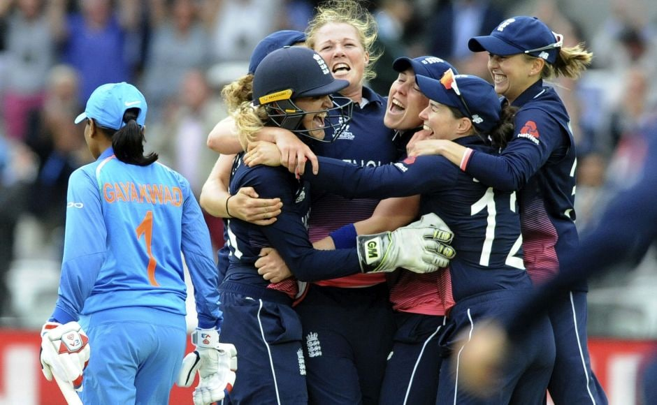 Shrubsole (centre) celebrates with teammates as England win the ICC Women's World Cup 2017 final match against India at Lord's. AP