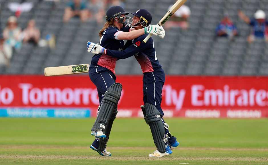 England's Anya Shrubsole hit the winning runs to help the hosts qualify for the final of the 2017 ICC Women's World Cup. Reuters