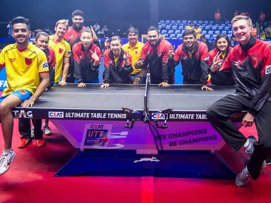 The victorious Falcons players celebrate their entry into teh Ultimate Table Tennis final. Image courtesy: Twitter/ @UltTableTennis