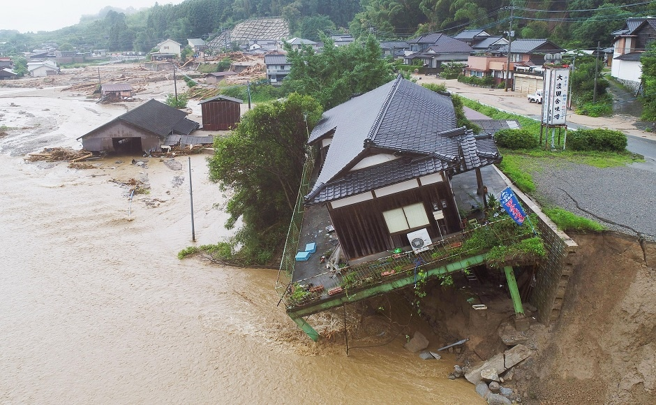 At least, six people were killed, 22 others went missing and more than four lakh rendered homeless in floods that surged through southern Japan in the first week of July. AP