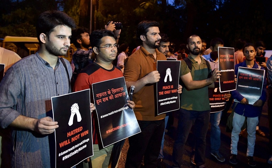 Activist of the 'Not In My Name' campaign held silent protests at Jantar Mantar on Tuesday evening demanding for a peaceful India. PTI