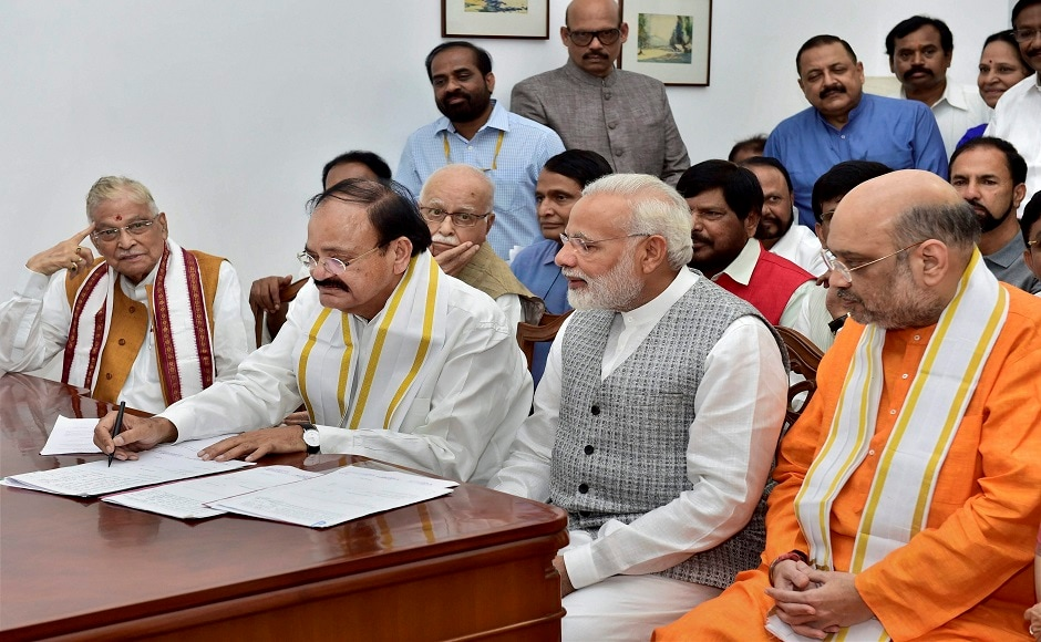 Prime Minister Narendra Modi, BJP president Amit Shah, senior BJP leader Murli Manohar Joshi as well as leaders from BJP allies along with AIADMK and TRS, accompanied Naidu as he filed his papers in the Parliament House. PTI