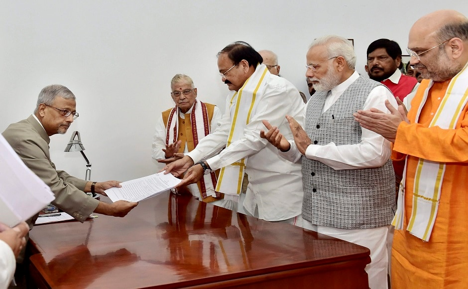 Naidu's name was proposed and seconded by Arun Jaitley, Sushma Swaraj and several top leaders of the NDA. After filing his papers, Naidu thanked the prime minister for his support. PTI