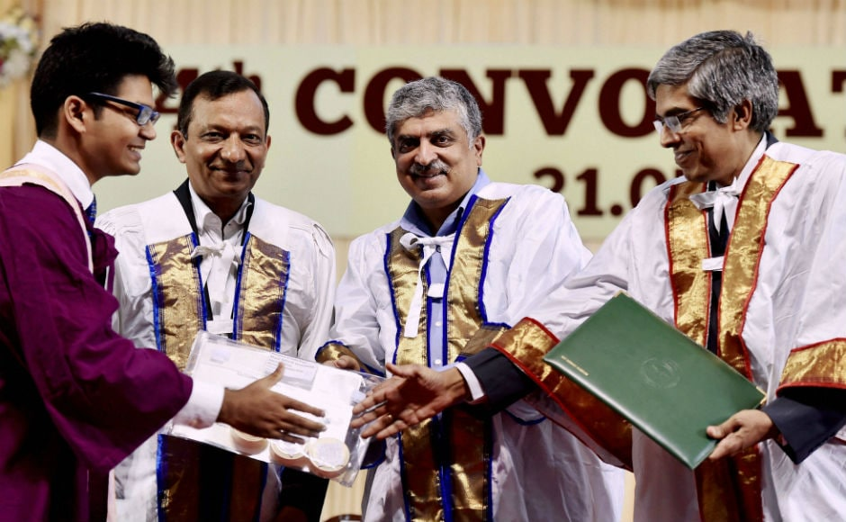 Professor Bhaskar Ramaurthi, director of the institute, awarded degrees to the graduating students while Nilekani presented prizes to them. A total of 2,263 degrees were awarded this year. PTI