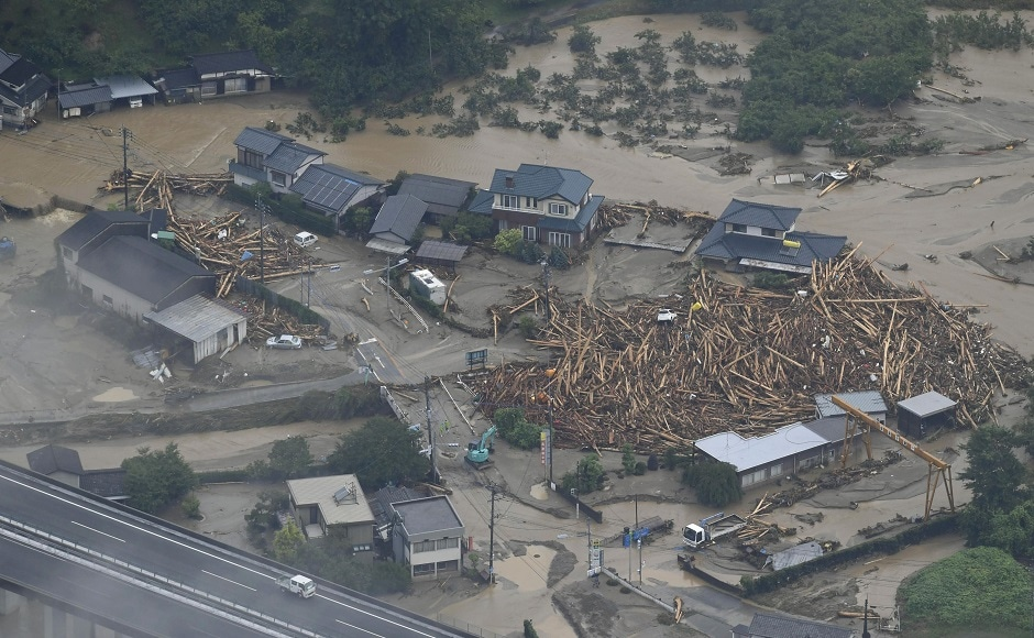 Unprecedented torrential rain has caused rivers to burst their banks, sweeping away roads and houses, and destroying schools in Kyushu, the southern-most of Japan's four main islands. AP