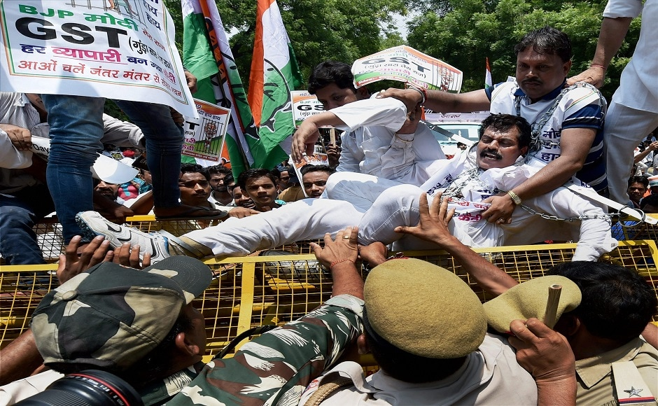 Delhi Congress chief Ajay Maken leading the protest said that, the government has implemented the GST to help its rich and industrialist friends. He also added that the party workers would go to every nook and corner to protest current GST form. PTI
